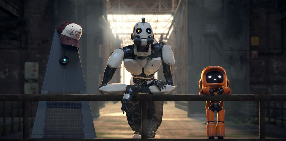 """Three robots lean speculatively against a railing in the Love, Death + Robots episode """"Three Robots"""""""