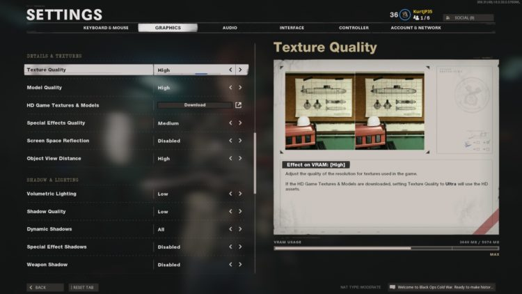Black Ops Cold War Graphics Settings