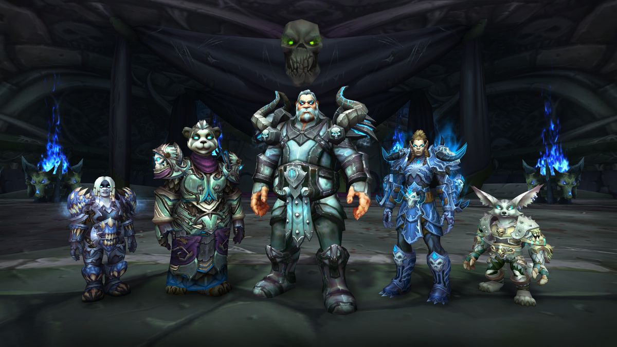 World of Warcraft - a group of Death Knights from Allied Races pose at Acherus