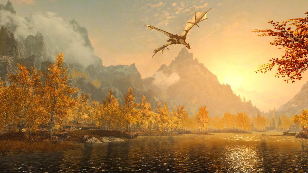 The Elder Scrolls 5: Skyrim - a dragon flying over a river at sunset