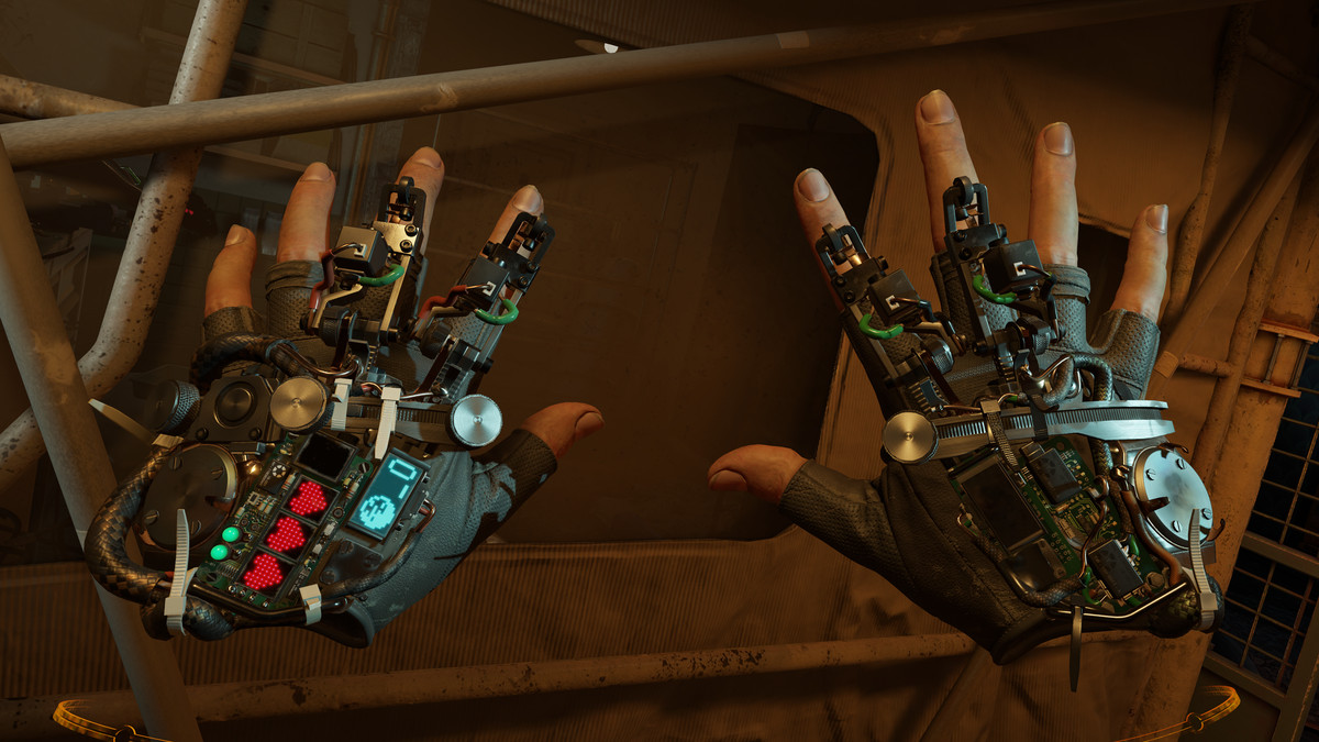 The gravity gloves worn by Alyx look futuristic, but hacked together
