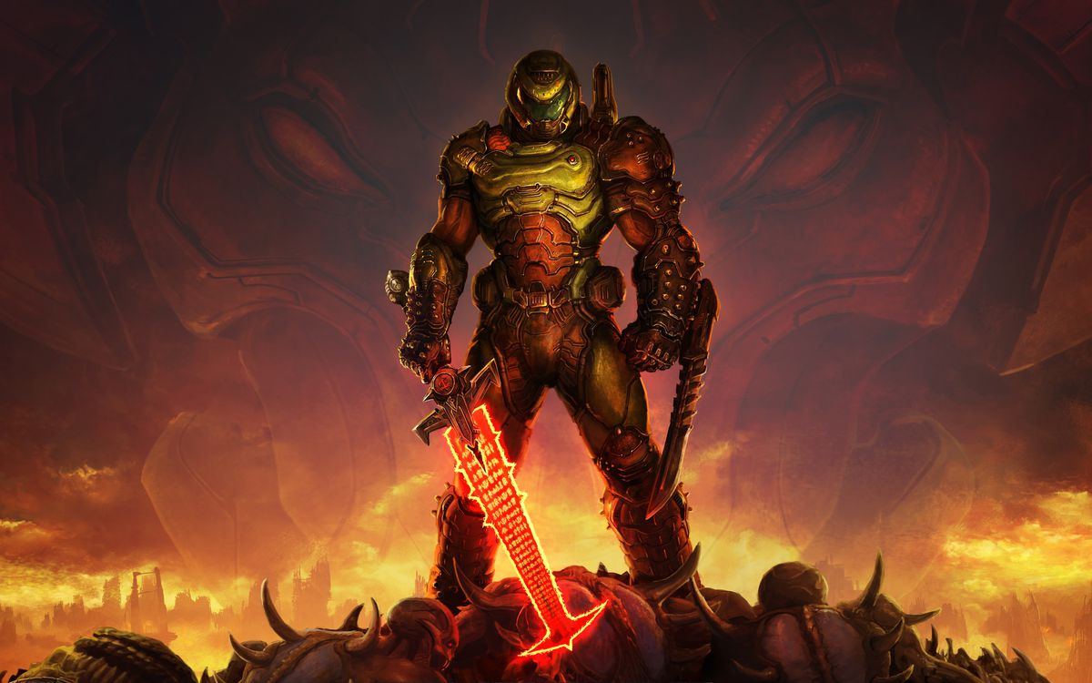 Doomguy stands atop a pile of demon corpses wielding a glowing sword in artwork from Doom Eternal