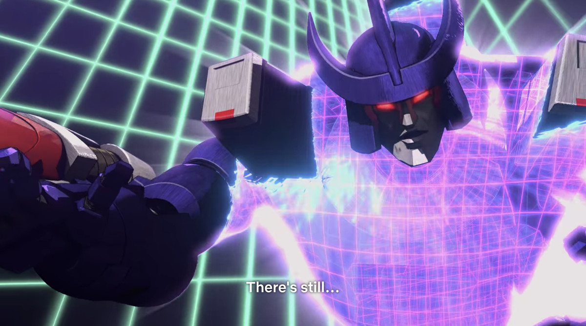Galvatron getting sucked back through time in an 80s laser grid