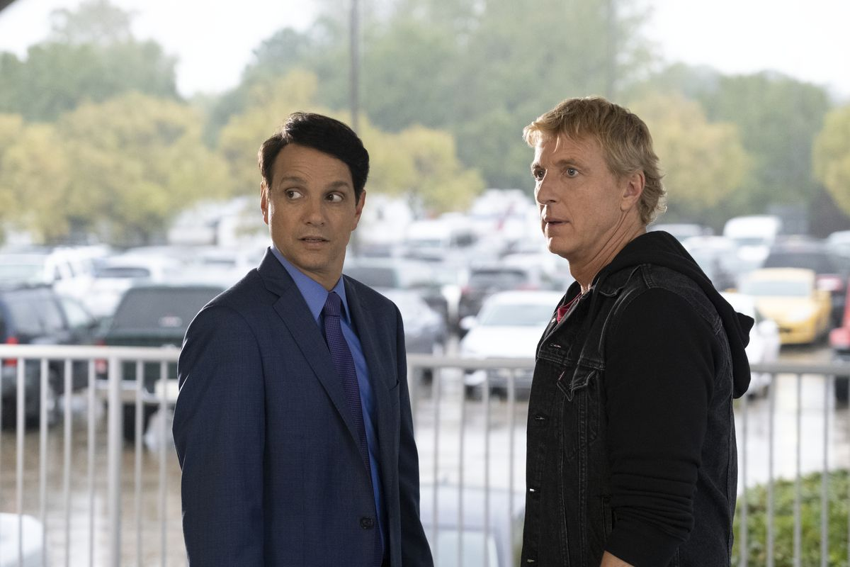 Johnny (William Zabka) and Daniel (Ralph Macchio) look at something in shock off camera