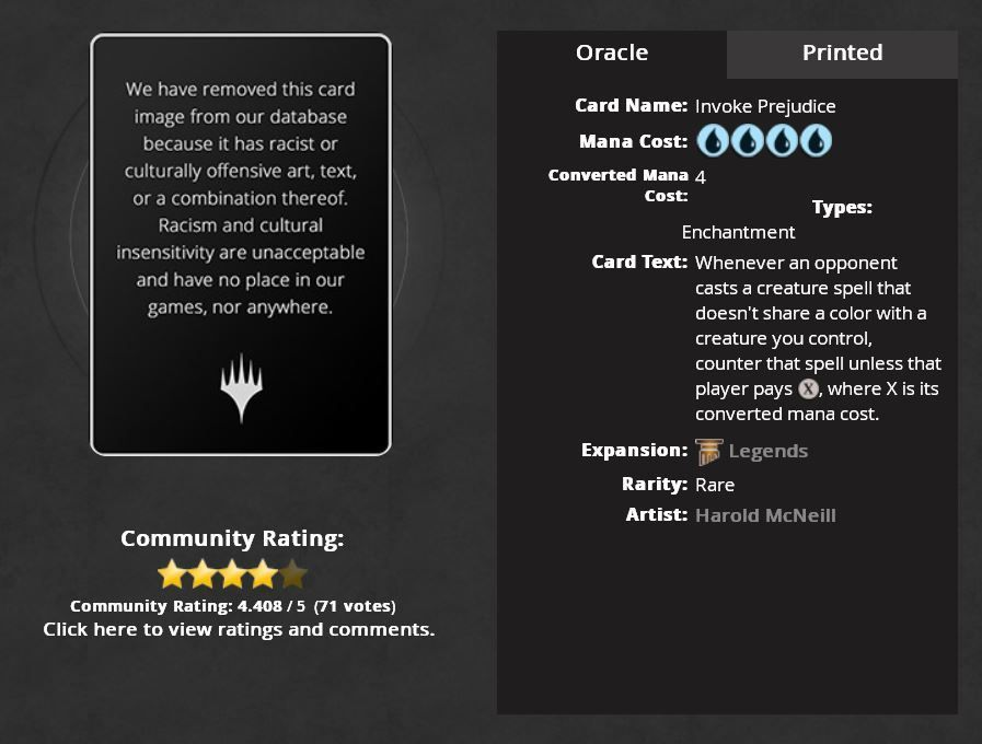 """A blank window at Wizard of the Coast's Magic: The Gathering website reads """"We have removed this card image from our database because it has racists or culturally offensive art, text, or a combination thereof. Racism and cultural insensitivity are unacceptable and have no place in our games, nor anywhere."""