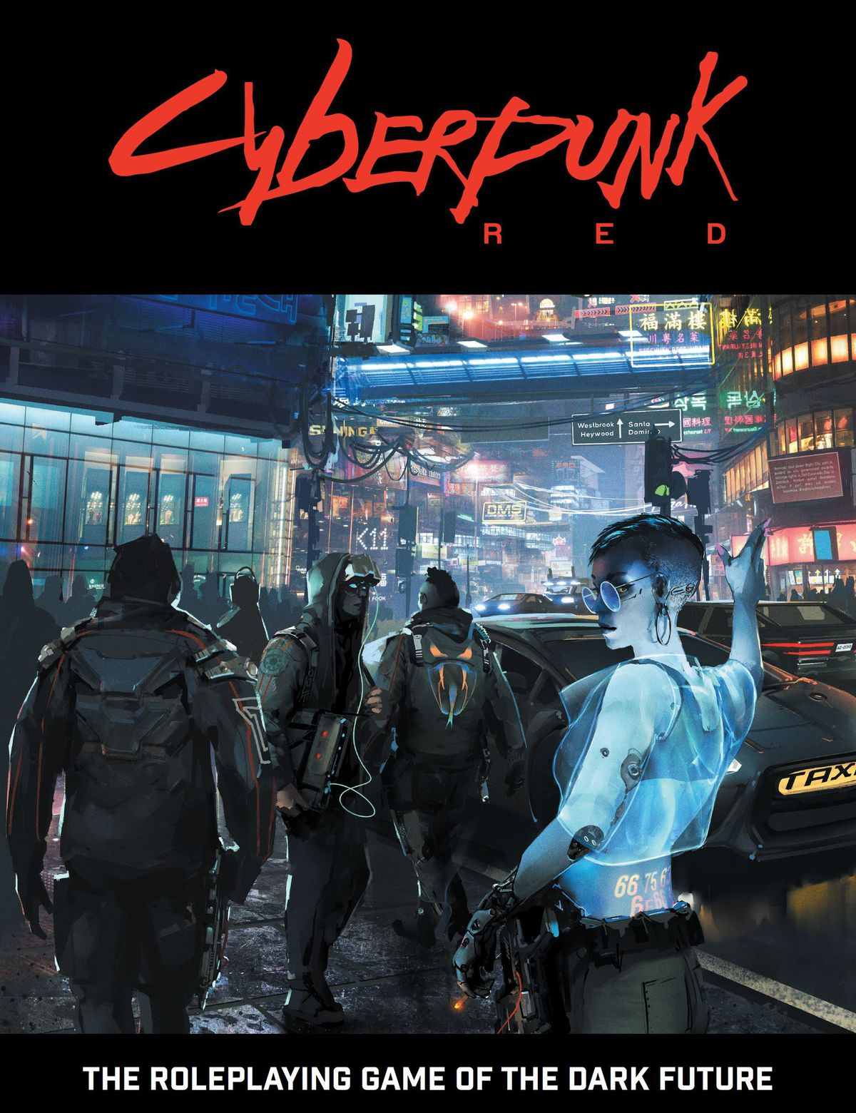 Cover art for Cyberpunk Red shows a woman haling a taxi in a futuristic city scene.