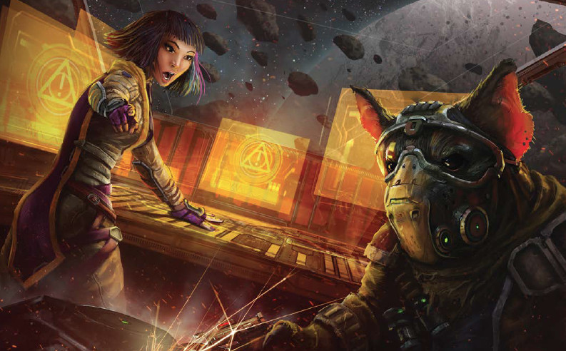 A ratlike humanoid in a breathing mask manages the weapons systems in a starship while a woman with purple hair barks orders.