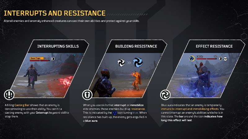 Outriders interrupts and resistance