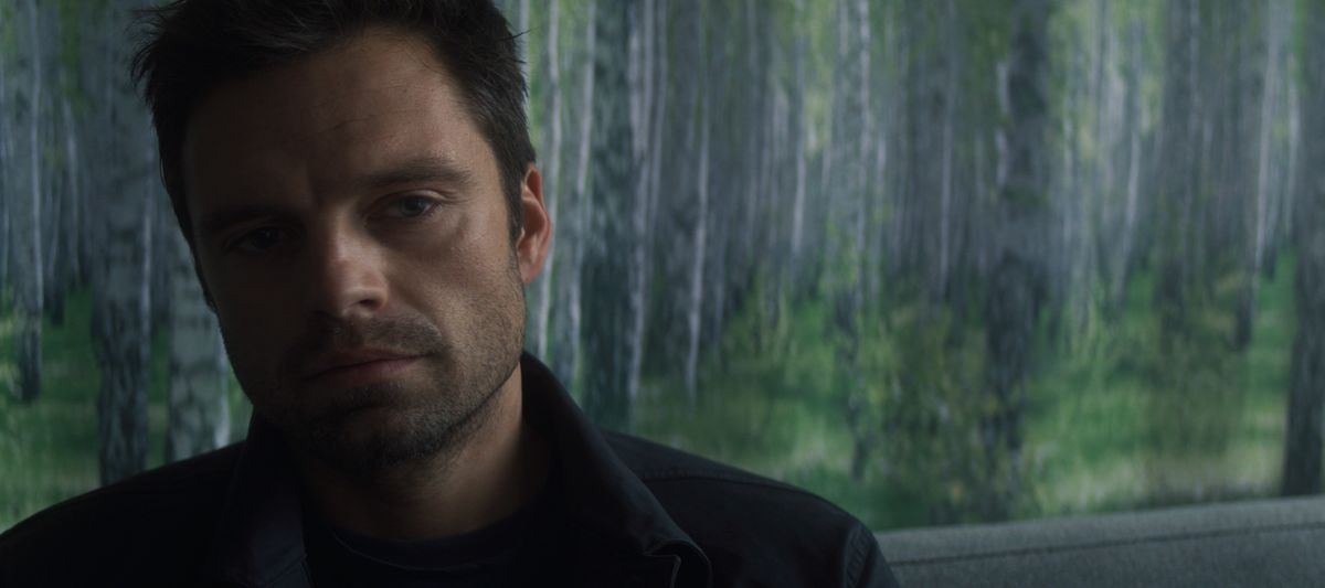A closeup of Bucky Barnes (Sebastian Stan) in his psychiatrist's office in The Falcon and the Winter Soldier