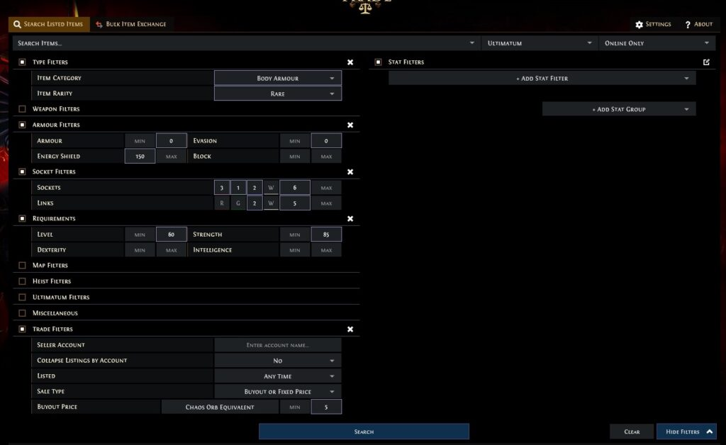Path of Exile How to Trade Search