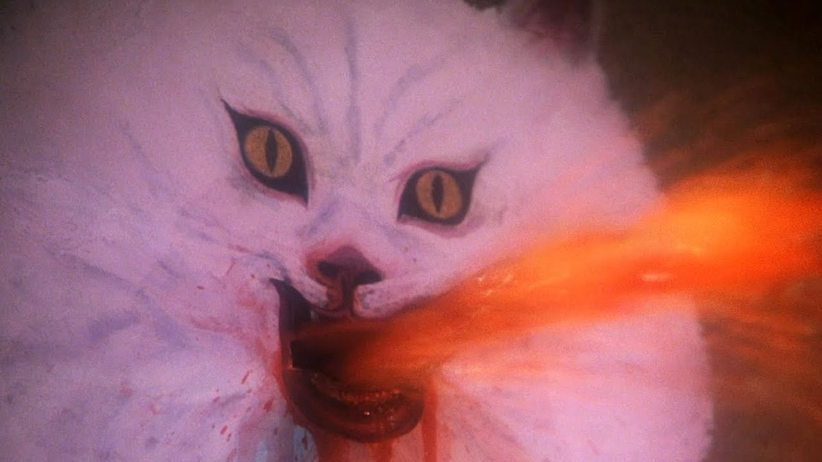 An ominous portrait of a cat sprays a geyser of blood from its mouth