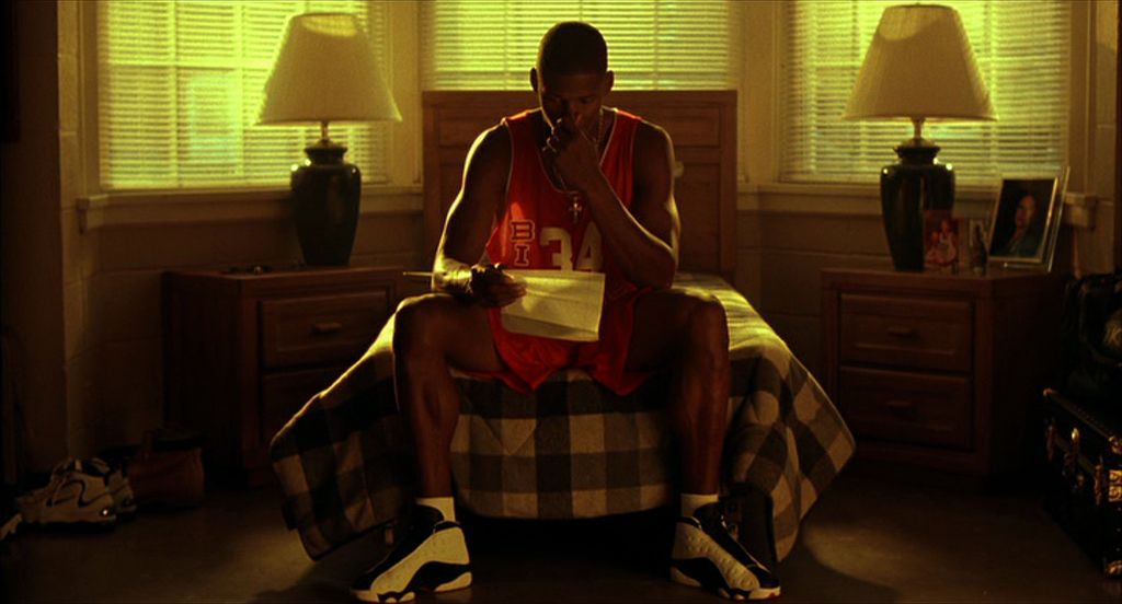 He Got Game: Ray Allen's Jesus sits on his bed and prepares a speech