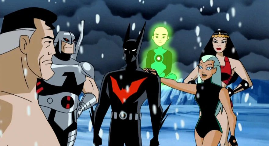 Batman (Terry McGinnis) with the members of the Justice League.