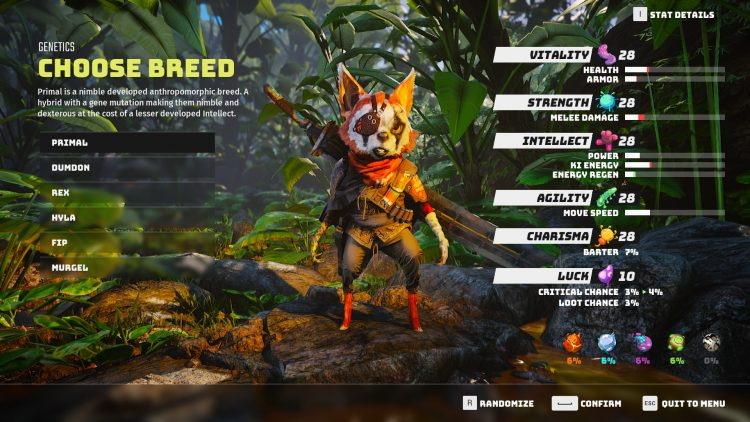 Biomutant Character Creation guide class skills