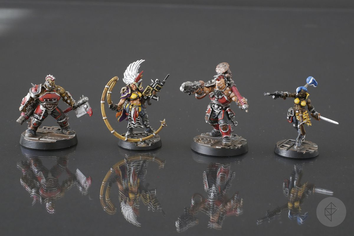 Four gangers from the Necromunda: Underhive boxed set.