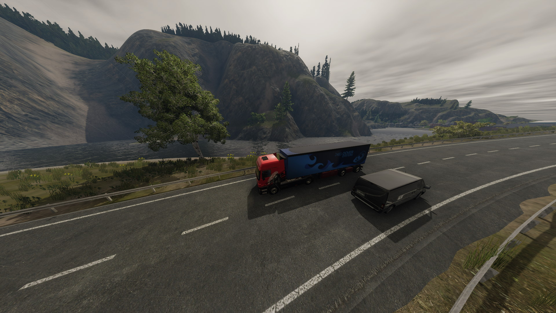 Truck Driver Pc Passing The River gameplay rain review