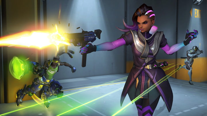 Characters shooting in Overwatch.