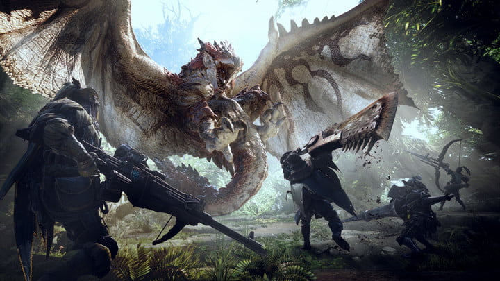 Hunters standing in front of a dragon in Monster Hunter: World.