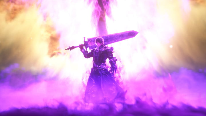 Character with a sword in Final Fantasy XIV: Shadowbringers.