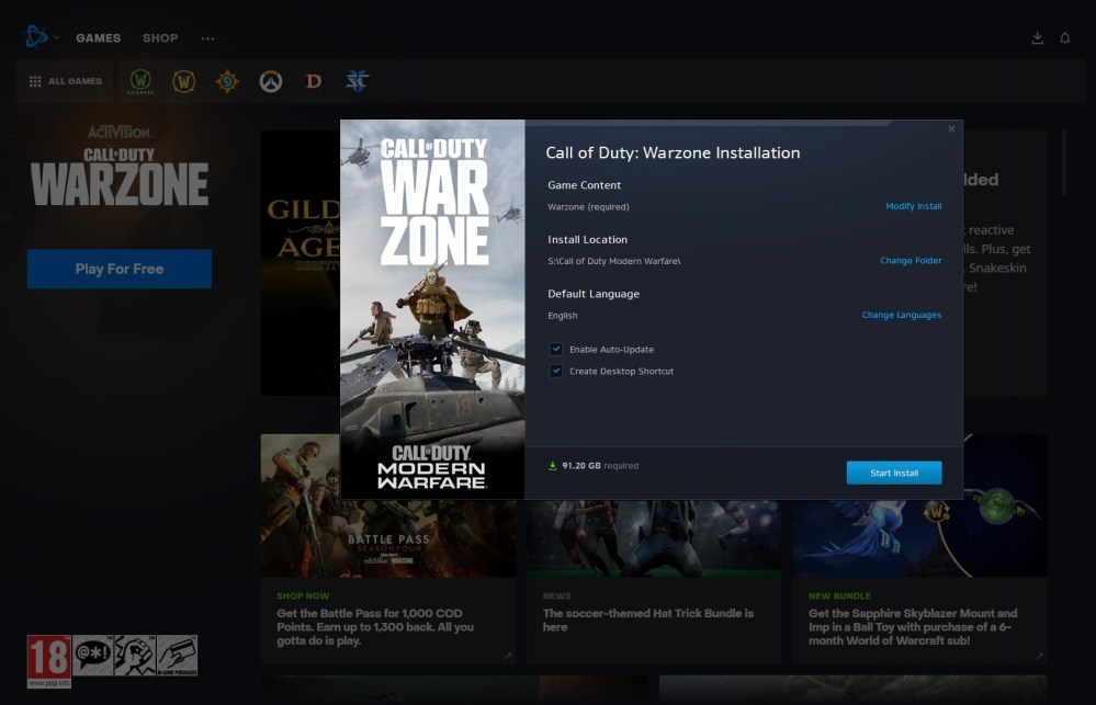how to get warzone on pc