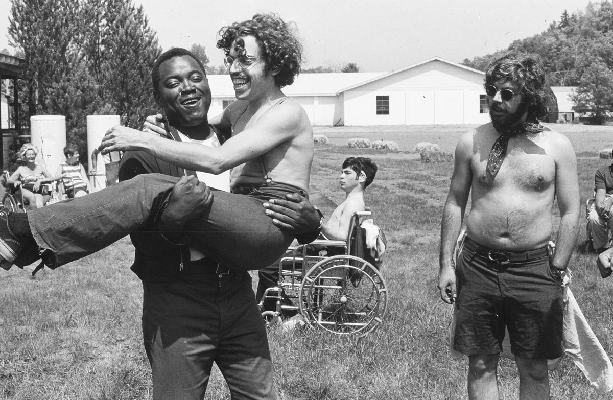 """A photo taken at Camp Jened in a scene from """"Crip Camp: A Disability Revolution."""""""