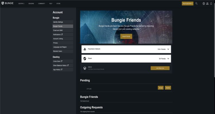 Destiny 2 Cross Play Guide Bungie Name Import Friends Add Friends Cross Play 1