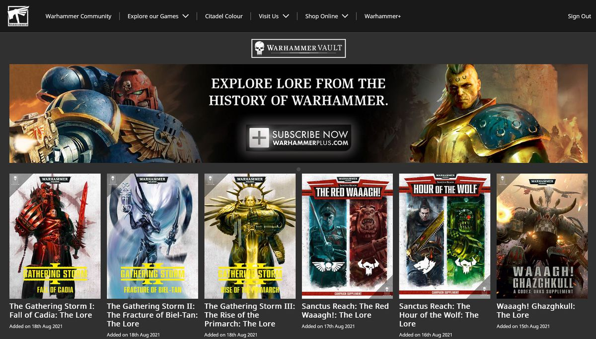 A collection of books available online, including The Gathering Storm 1: Fall of Cadia: The Lore.