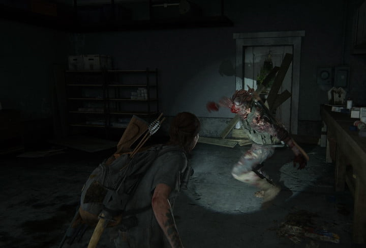 Ellie encountering an Infected in The Last of Us Part II.