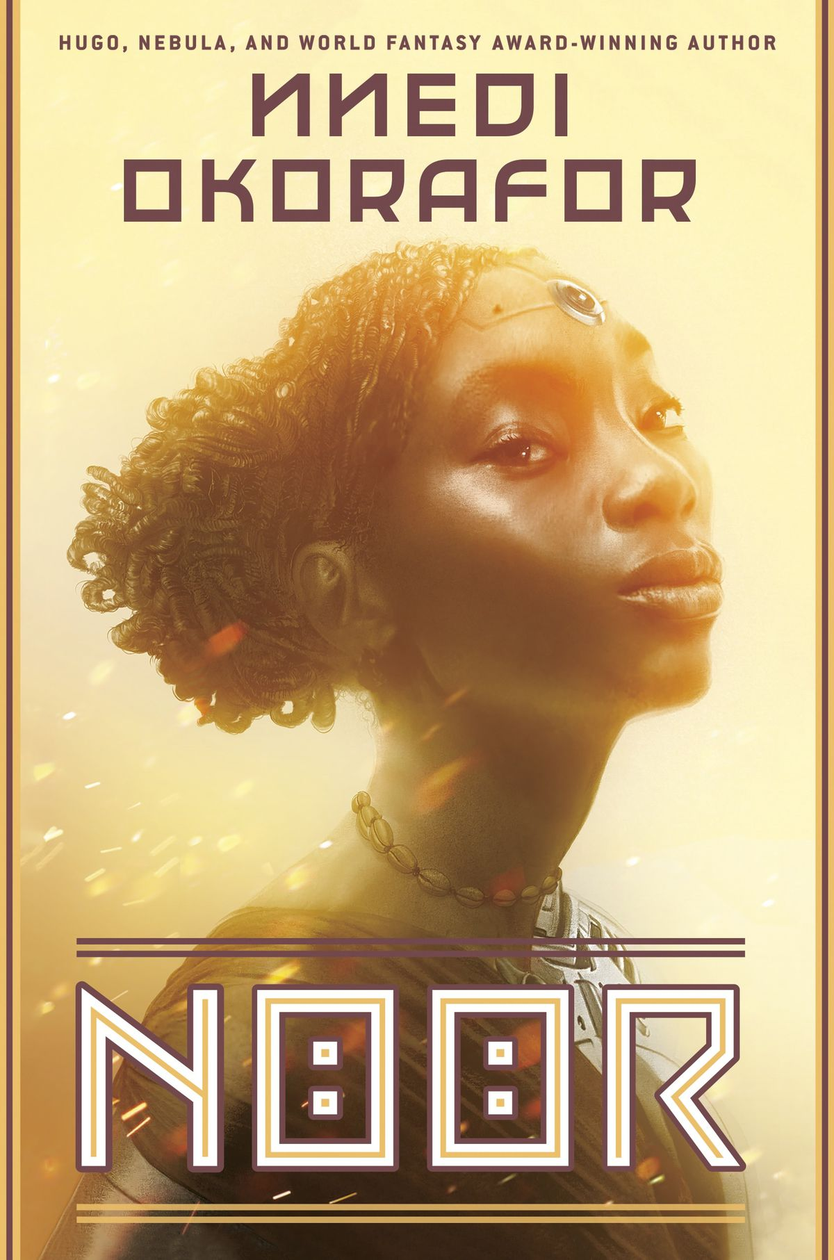 Noor by Nnedi Okorafor book cover featuring a young black woman in ornate jewelry