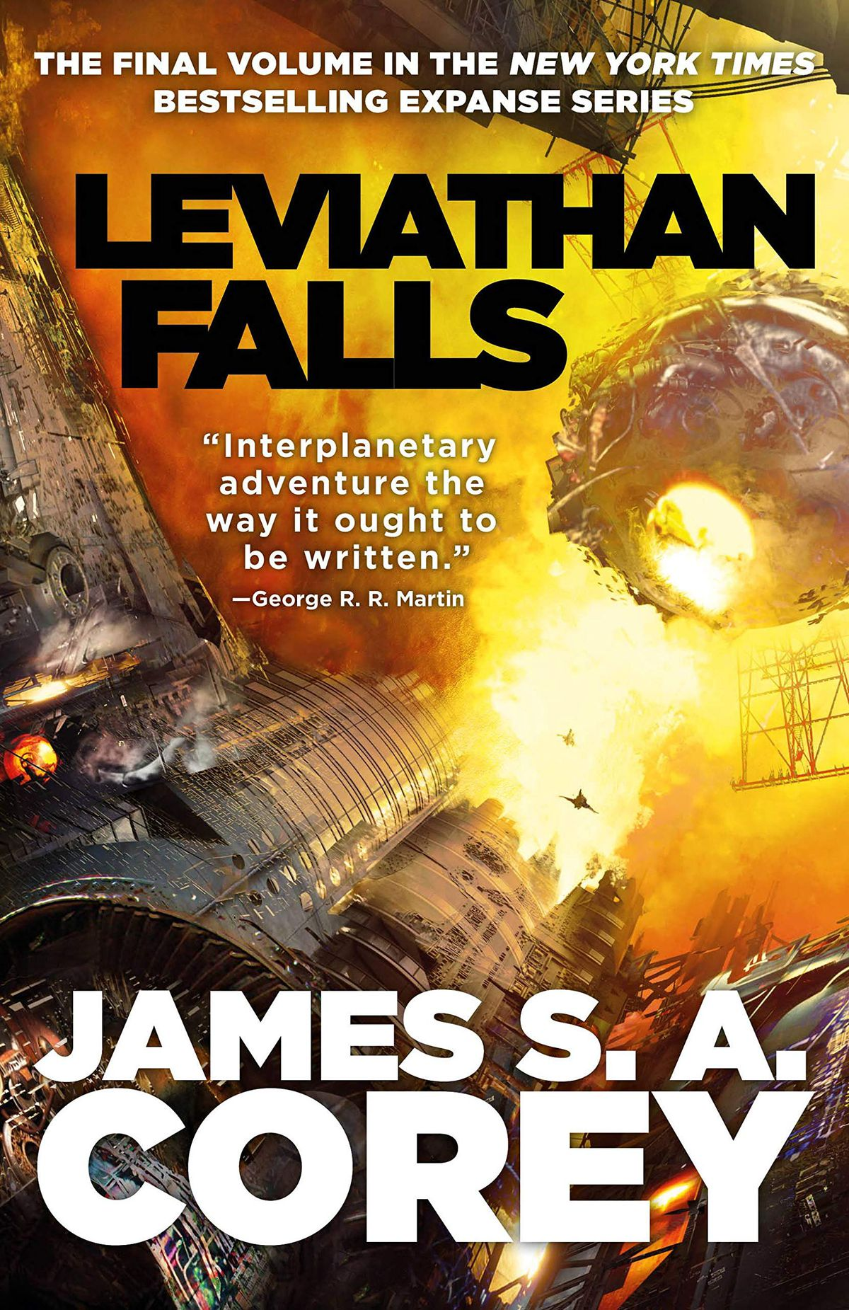 Leviathan Falls by James S.A. Corey cover with a giant fire in space