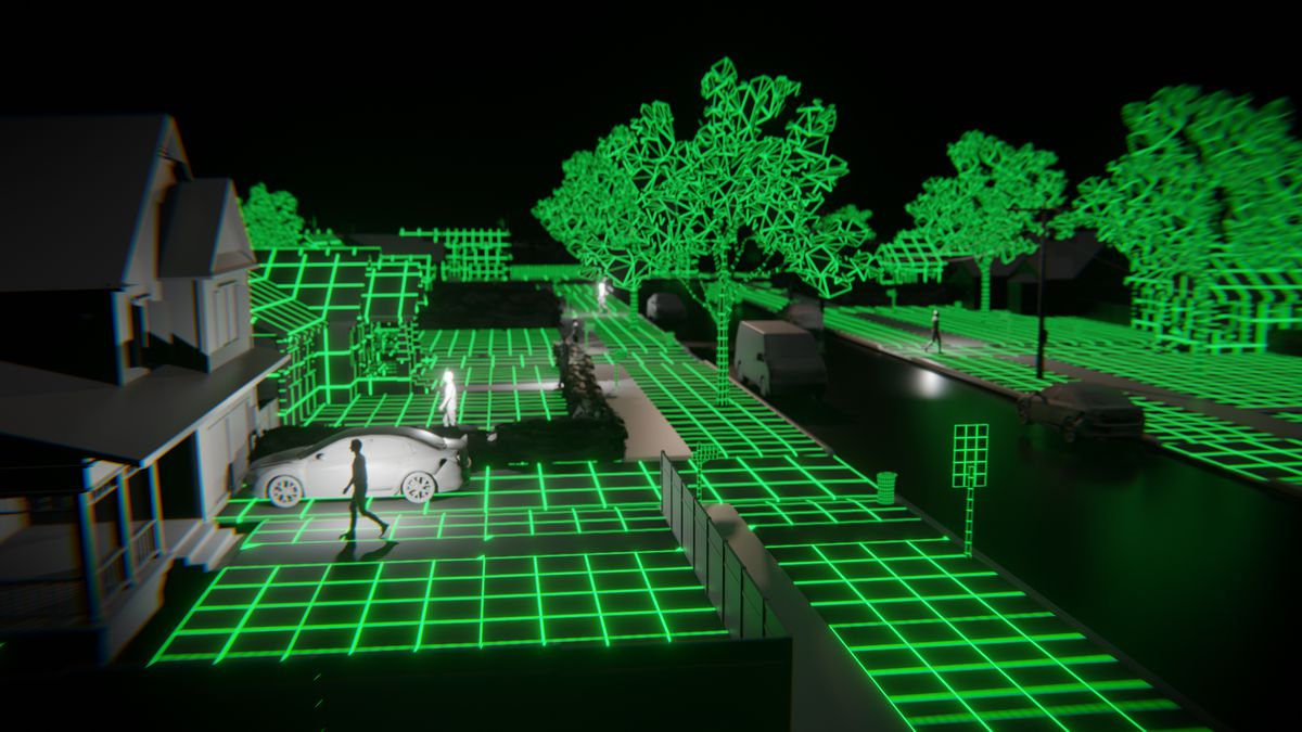 A computer-rendered image of a suburban street, with green wire-frame trees and streets, and low-res gray people, houses, and cars