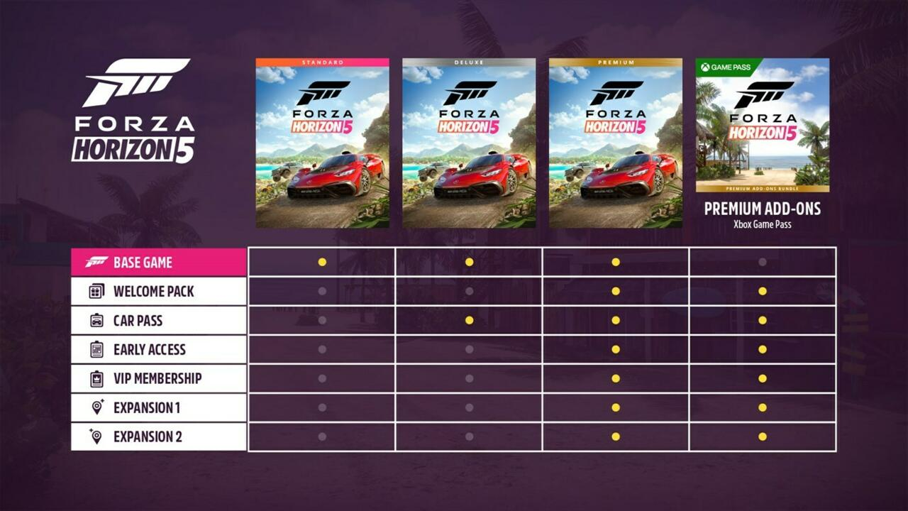 All the different versions of Forza Horizon 5
