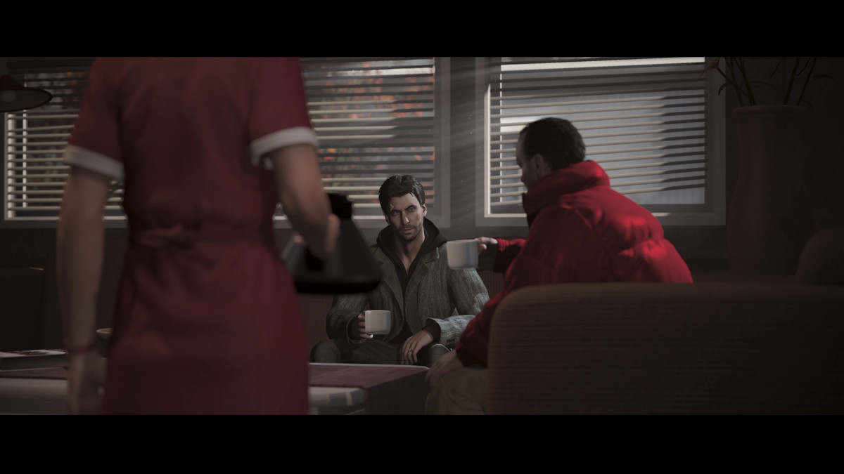Alan Wake and his agent drink coffee