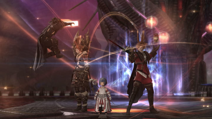 """Four characters posing at the end of the first FFXIV Endwalker dungeon """"The Tower of Zot""""."""